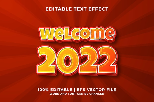 Effetto testo modificabile -benvenuto 2022 template style premium vector
