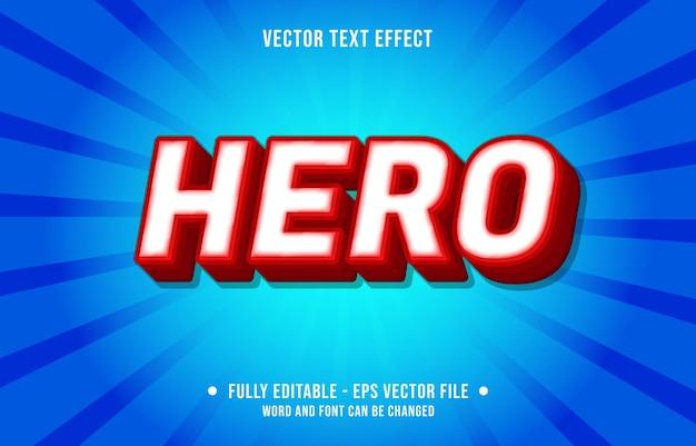 Effetto di testo modificabile: eroe bianco e stile di colore sfumato rosso