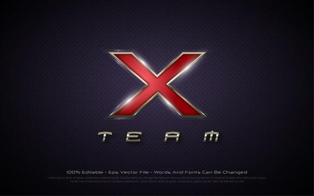 Effetto di testo modificabile, illustrazioni in stile x team