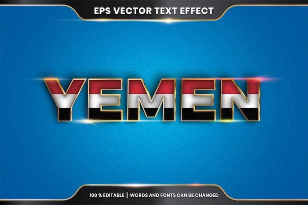 Effetto di testo modificabile - yemen con la sua bandiera nazionale