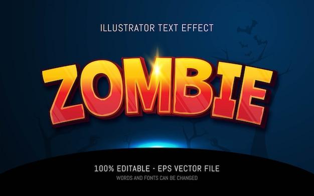 Effetto di testo modificabile, illustrazioni in stile zombie