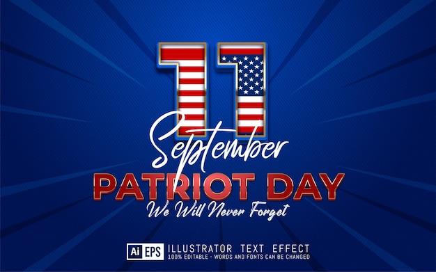 Illustrazione del giorno del patriota con gradiente di testo modificabile 9.11