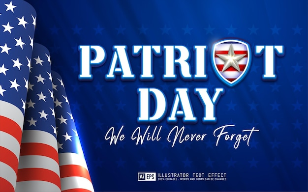 Giorno del patriota di testo modificabile adatto per il tema dell'evento della giornata nazionale del banner