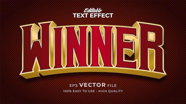 Effetto di stile di testo modificabile - tema di stile di testo retrò vincitore Vettore Premium