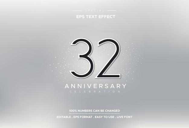 Effetto stile testo modificabile con numeri del 32 ° anniversario