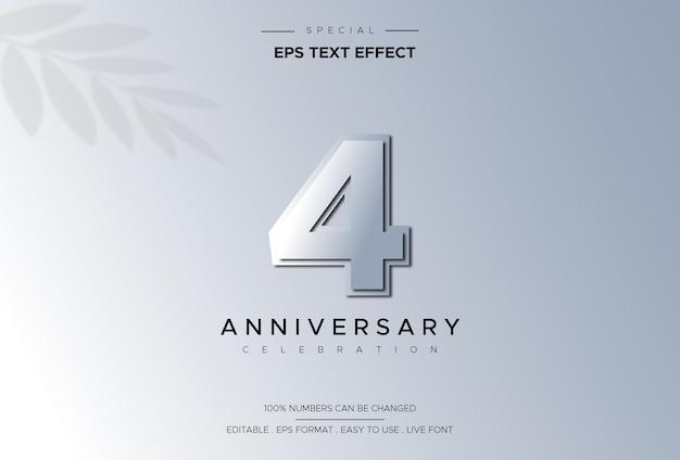 Effetto di stile di testo modificabile con numeri del 4 ° anniversario