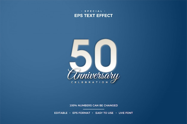 Effetto stile testo modificabile con numero 50 ° compleanno.