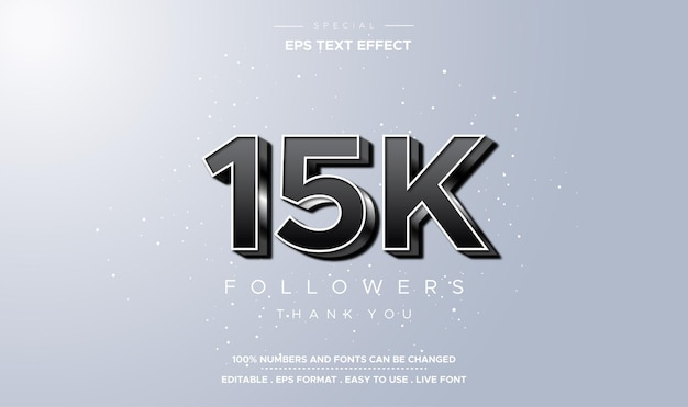 Stile di testo modificabile effetto numero quindicimila follower