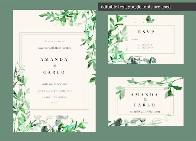 Kit di invito a nozze modificabile decorato