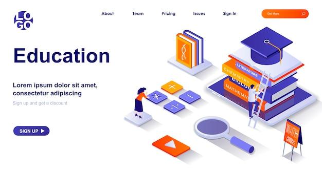 Pagina di destinazione isometrica di educazione 3d con personaggi di persone