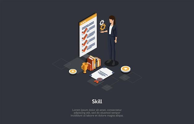 Illustrazione di concetto di miglioramento di istruzione, abilità e abilità