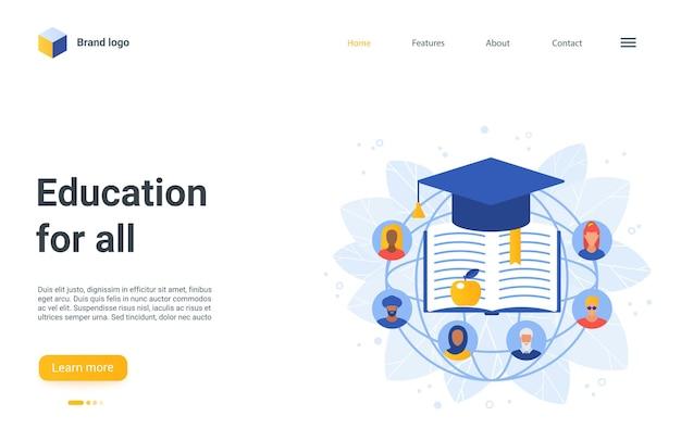Istruzione per tutte le pagine di destinazione, simboli educativi dei cartoni animati, avatar piatti di gruppo di persone