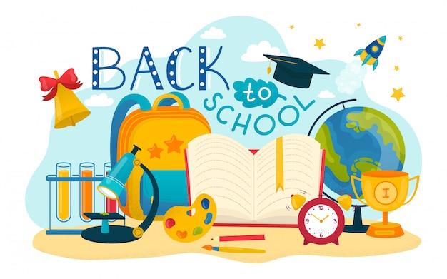 Istruzione, torna all'illustrazione del fondo di concetto della scuola. poster colorato, studio con matita, libro, scienza. icona scritta, carta, penna e righello.