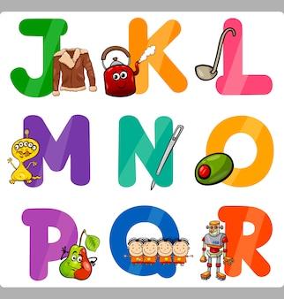 Lettere di alfabeto del fumetto di educazione per i bambini