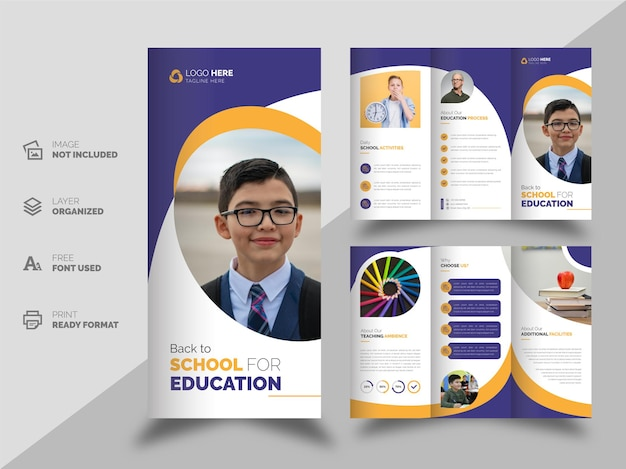 Modello di brochure ripiegabile per la società educativa torna a scuola