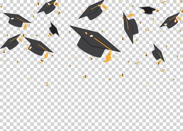 Sfondo di concetto di educazione. cappellini e coriandoli di laurea. illustrazione
