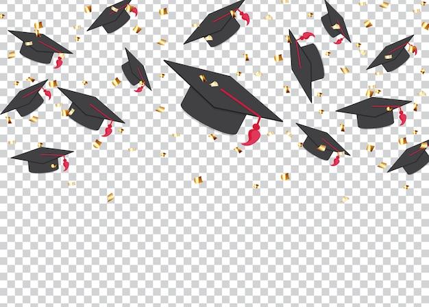 Sfondo di concetto di educazione. cappellini e coriandoli di laurea.