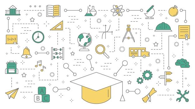 Concetto di educazione. idea di apprendimento e conoscenza. studia online. set di icone colorate con tappo di laurea. illustrazione