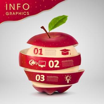 Progettazione del modello infographic di concetto di istruzione con l'elemento della mela