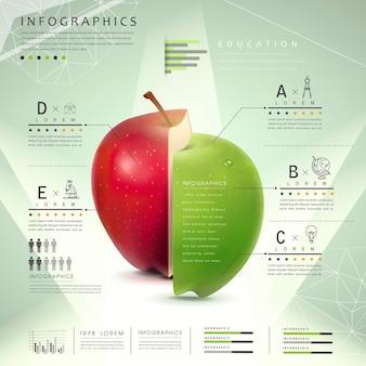 Progettazione del modello infographic di concetto di istruzione con l'elemento delle mele