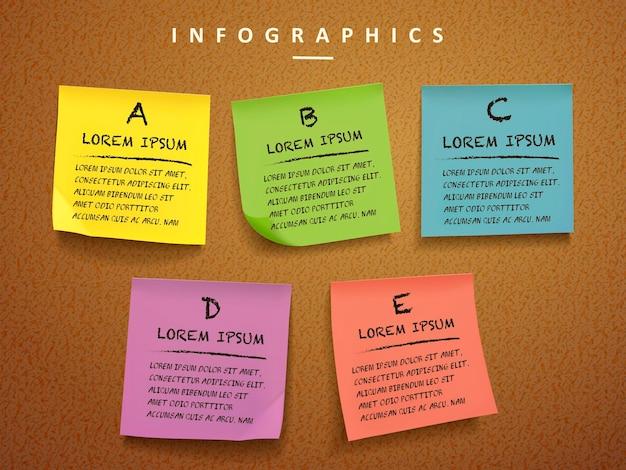 Progettazione del modello infographic di concetto di istruzione con l'elemento delle note appiccicose