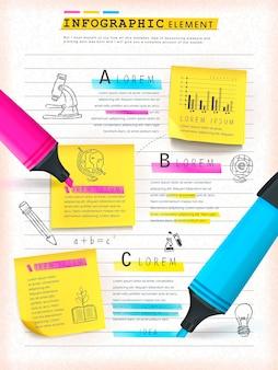 Progettazione del modello infografico del concetto di educazione con note adesive ed elementi evidenziatori