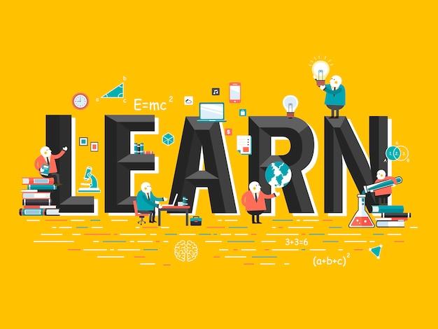 Concetto di educazione, impara parole con elementi correlati