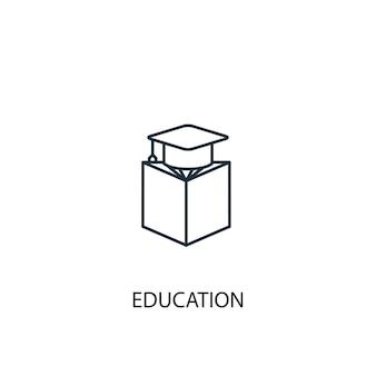 Icona della linea di concetto di istruzione. illustrazione semplice dell'elemento. disegno di simbolo di struttura del concetto di educazione. può essere utilizzato per ui/ux mobile e web