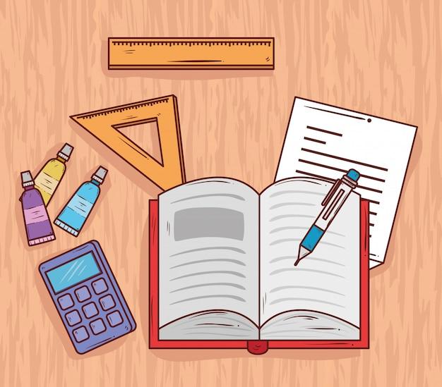 Concetto di istruzione, libro aperto con i rifornimenti di scuola in tavola di legno