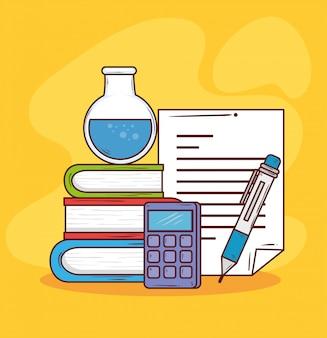 Concetto di istruzione, libri con i rifornimenti di scuola, progettazione del mucchio dell'illustrazione di vettore