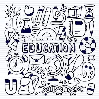 Schizzo del concetto di educazione con icone di studio di scuola e università, insieme di educazioni di doodle