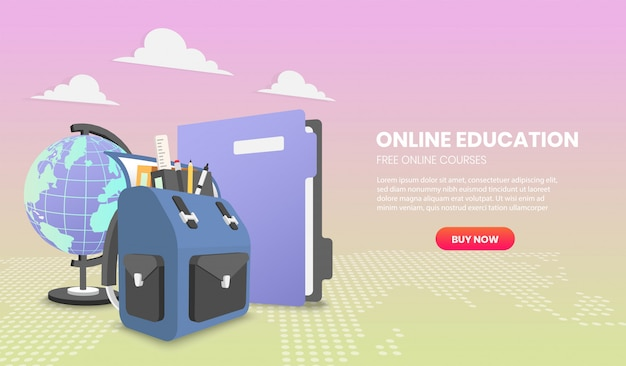 Concetto di educazione con zaino scuola e concetti di illustrazione di file per sito web e dispositivi mobili.