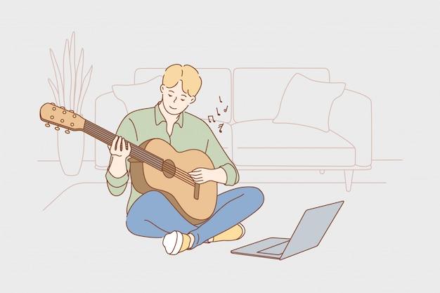 Apprendimento della creatività di educazione gioca il concetto di musica Vettore Premium