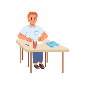Educazione e sviluppo delle competenze nelle classi a scuola allievo isolato con carta e pastelli