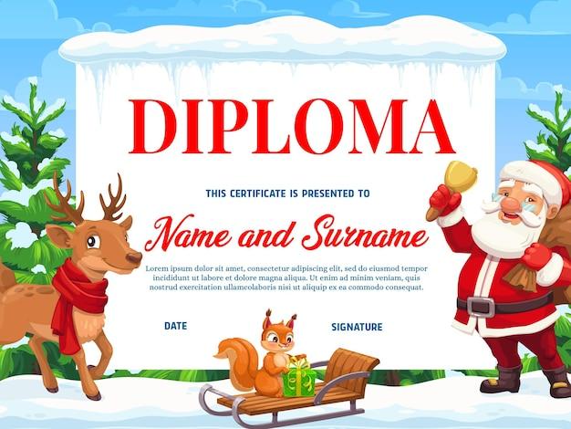 Diploma di istruzione con personaggi natalizi
