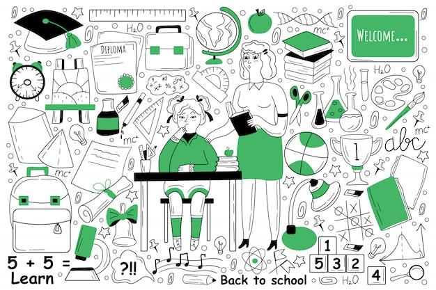 Insieme di doodle di educazione