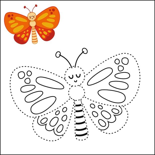 Educazione punto per punto gioco per bambini farfalla illustrazione vettoriale
