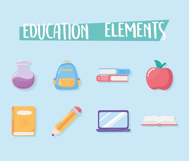 Icone di istruzione elementare del fumetto della scuola della provetta del libro della borsa della mela degli elementi di istruzione
