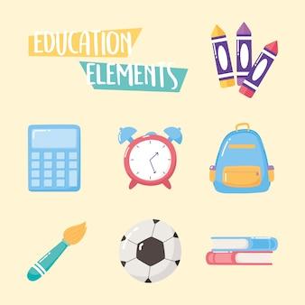 Istruzione elementi icone zaino orologio libro pastelli pennello scuola elementare dei cartoni animati