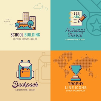 Icone piatte di educazione