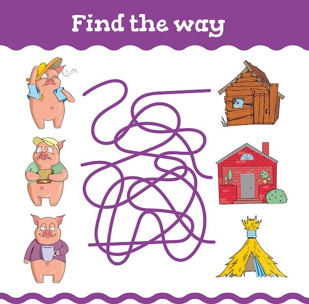 Giochi educativi con tre porcellini. foglio di lavoro prescolare o asilo nido.
