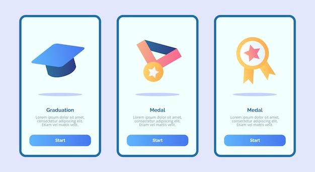 Medaglie di istruzione scolastica e schermata di inserimento delle certificazioni per app mobili