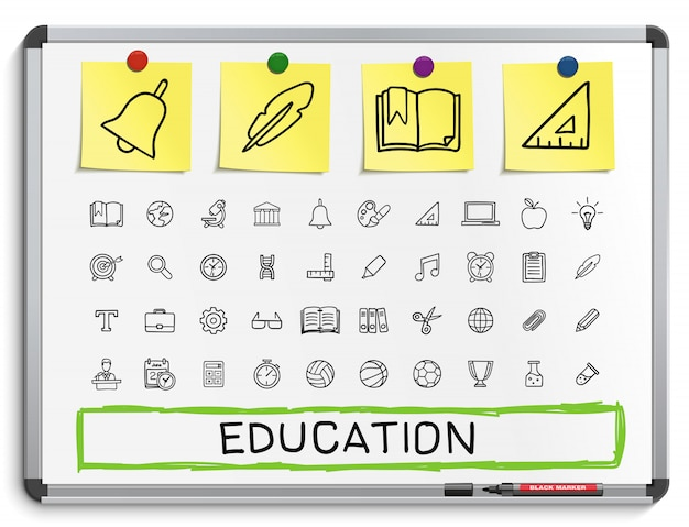 Icone di linea di disegno a mano educazione. set di pittogrammi di doodle. illustrazione del segno di schizzo sul tabellone bianco con adesivi di carta. ospedale, emergenza, medico, infermiere, farmacia, medicina, assistenza sanitaria.