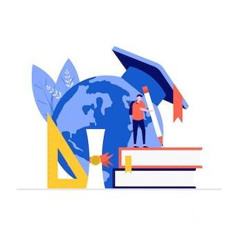 Concetto di illustrazione di educazione con personaggi, mondo, libri, righello.