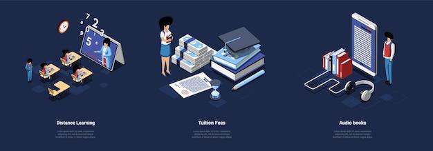 Illustrazioni di educazione tre diverse composizioni isometriche di apprendimento a distanza, tasse scolastiche, libri di studio audio