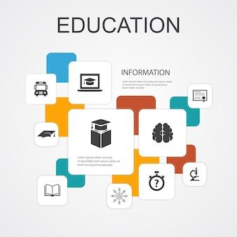Istruzione infografica 10 icone di linea modello.laurea, microscopio, quiz, icone semplici di scuolabus