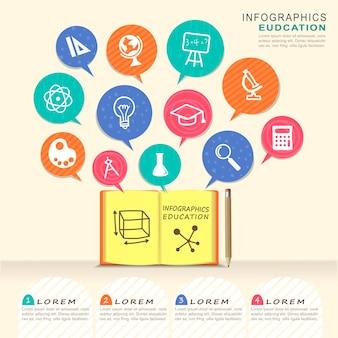 Elementi di design infografico educativo con elementi di libri e fumetti Vettore Premium