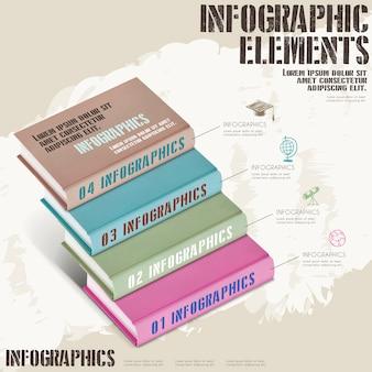 Disegno del modello di educazione infografica con scale di libro