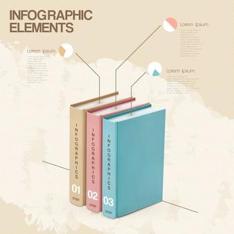 Disegno del modello di educazione infografica con elementi di libri