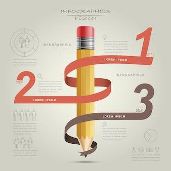 Disegno del modello di educazione infografica con elemento matita